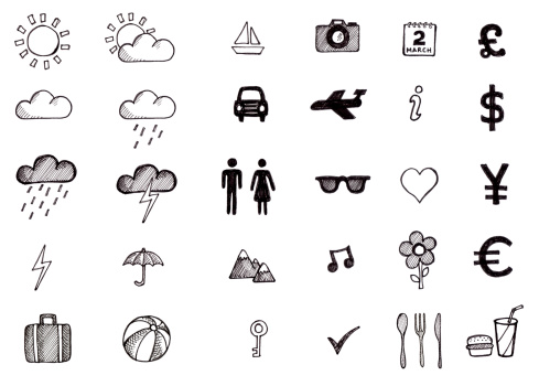 Lots of hand drawn icons associated with travel from weather to currency to food