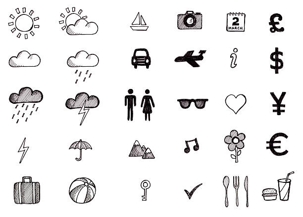 hand drawn travel icons - icon stock pictures, royalty-free photos & images