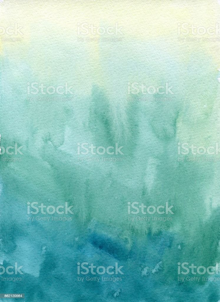 Hand drawn turquoise blue, green watercolor abstract paint texture. Raster gradient splash background. stock photo
