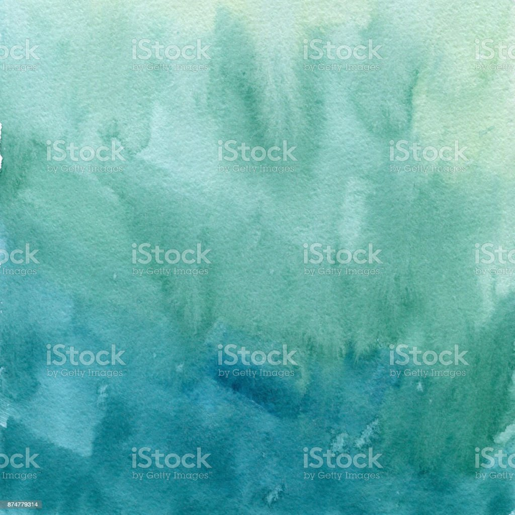 Hand drawn turquoise blue watercolor abstract paint texture. Raster splash background.  gradient stock photo