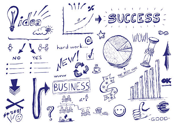 Hand drawn vector illustration: Business success stock photo