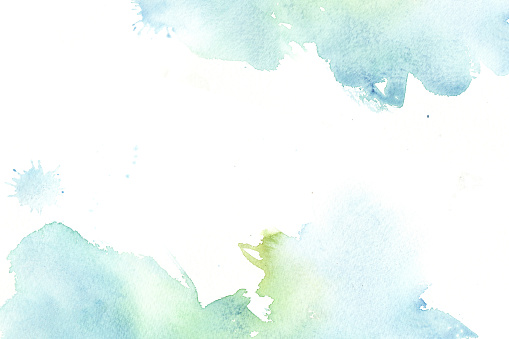 Hand drawn watercolor abstract beautiful blue and green stains. colorful background