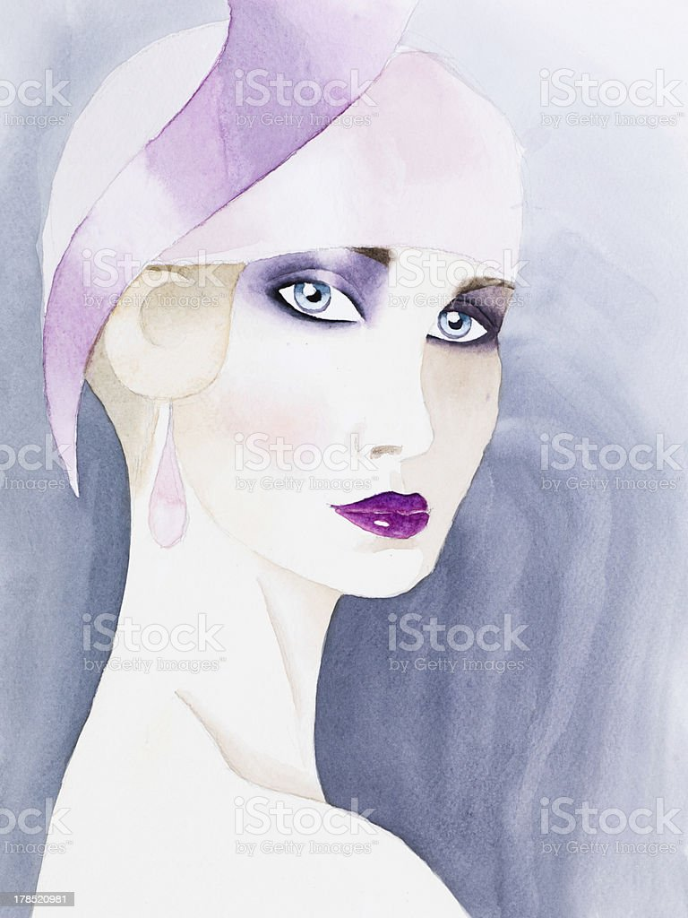hand drawn watercolor illustration of mysterious woman royalty-free stock photo