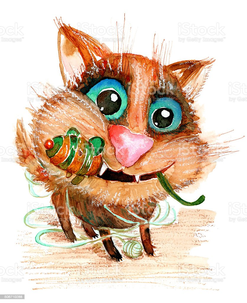 Hand drawn watercolor illustration without tracing. Funny cat. stock photo