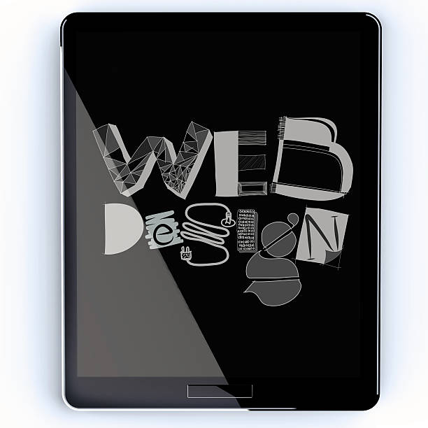 hand drawn web deign on screen tablet computer as concept - deign stock pictures, royalty-free photos & images