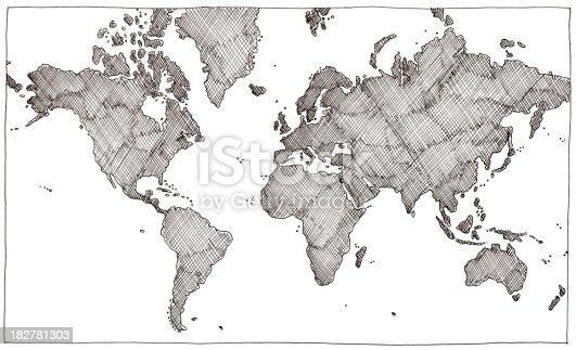 istock Hand drawn world map 182781303