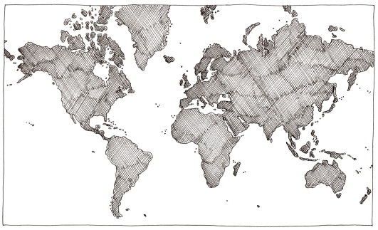 istock Hand drawn world map 182781303
