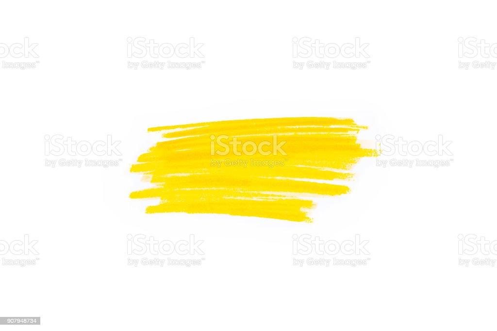 Handgezeichnete gelbe Textmarker Streifen. Marker Striche Hintergrundvorlage. Optimiert für einen Klick Farbänderungen – Foto