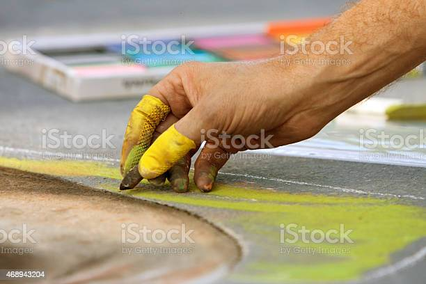 Hand Draws Chalk Art At Fall Festival Stock Photo - Download Image Now