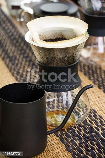 Hand drip coffee, home brewing process
