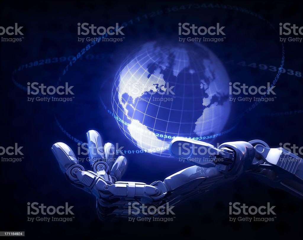 Hand & Earth stock photo