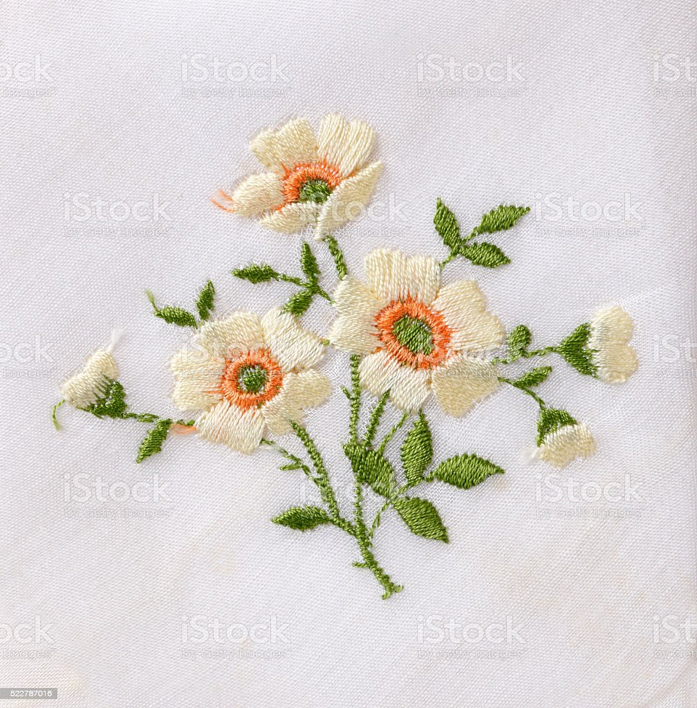 Hand Embroidered Flower Stock Photo   Download Image Now   iStock