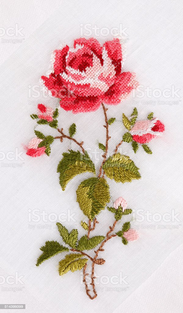 Hand Embroidered Rose stock photo