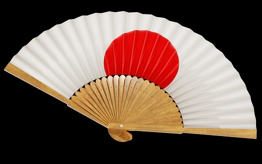 A Japanese flag painted on a folding, paper handheld fan