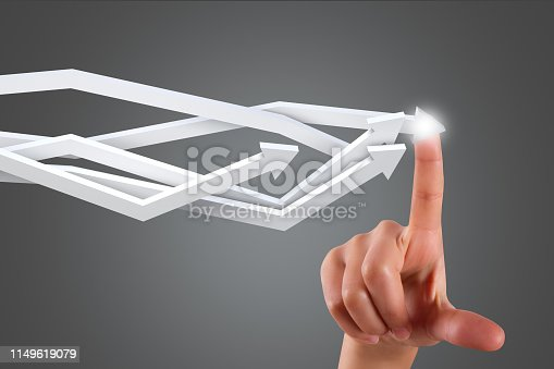 istock Hand Finger Touching Statistic Analytic Result Arrows 1149619079