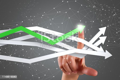 istock Hand Finger Touching Statistic Analytic Result Arrows 1149619083