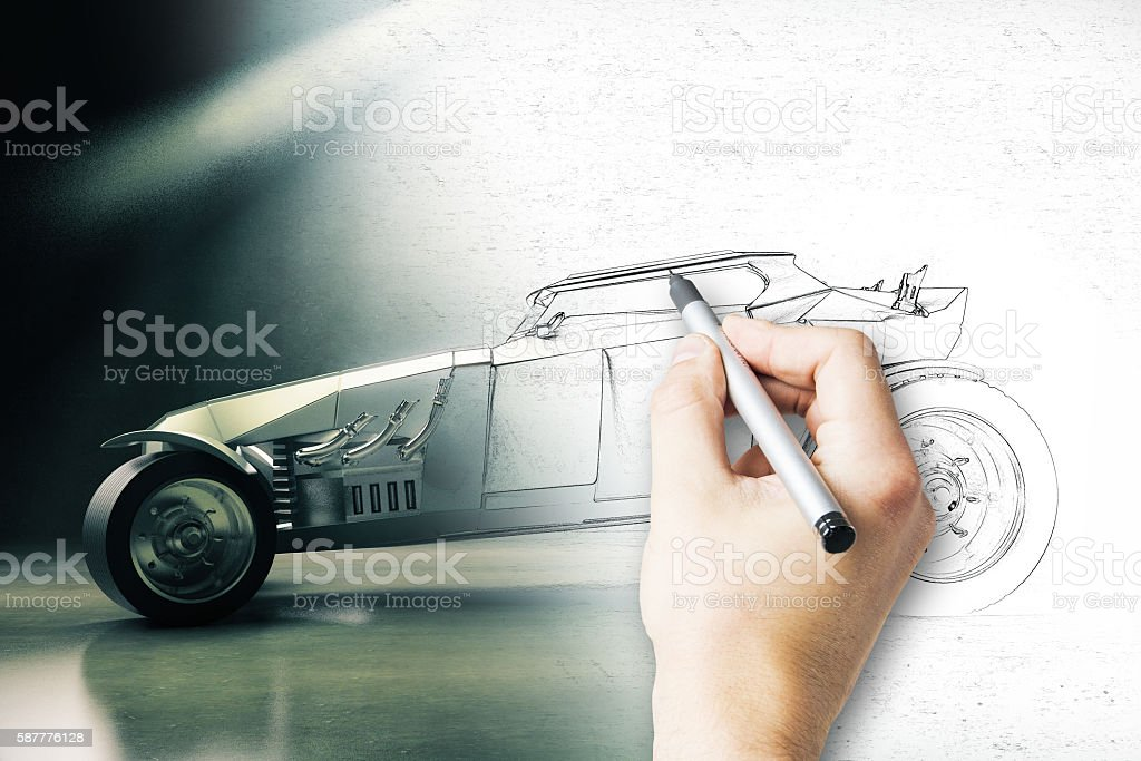 Hand finishing car project stock photo