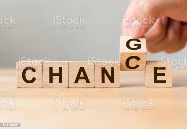 Hand flip wooden cube with word change to chance personal development picture id871196052?b=1&k=6&m=871196052&s=612x612&h=tocmjuuqjg9oblg4lzo67ffnx70s13 pgcw ilqt9kw=