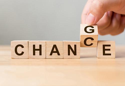 Hand Flip Wooden Cube With Word Change To Chance Personal Development And Career Growth Or Change Yourself Concept - zdjęcia stockowe i więcej obrazów Biznes finanse i przemysł