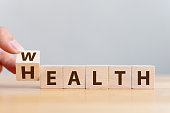 istock Hand flip wooden cube with word wealth to health. Investment in life insurance and healthcare concept 1134798607