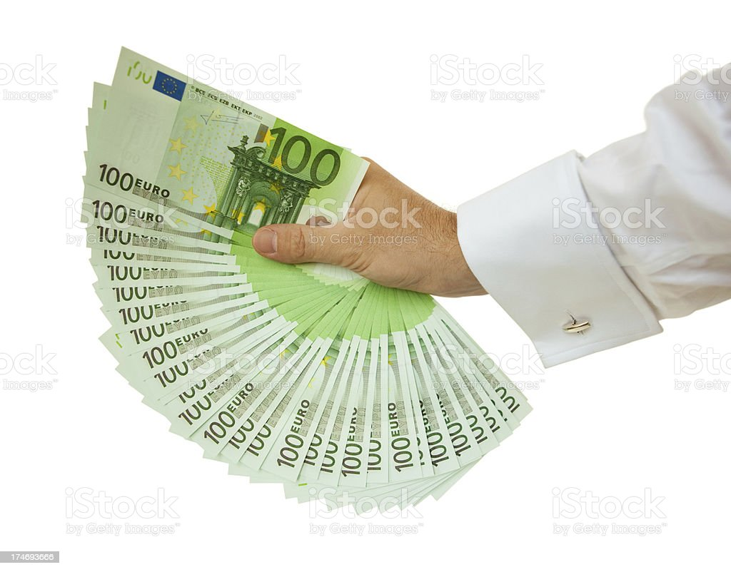 Hand full of one hundred euro bills royalty-free stock photo