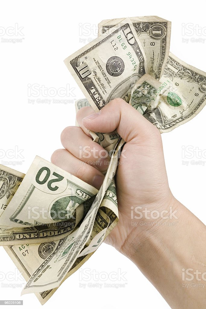 hand full of us dollars royalty-free stock photo