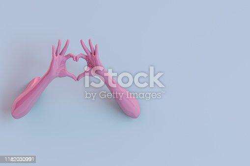3D rendering of Hand Gesture,  Female  Mannequin, Heart Shape on blue color background.