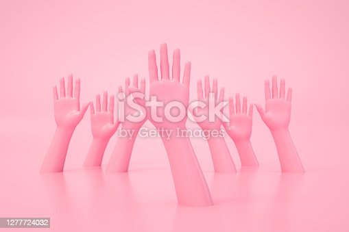 3D rendering of Hand Gesture, Female Mannequin, Open Palm, Pink color background.