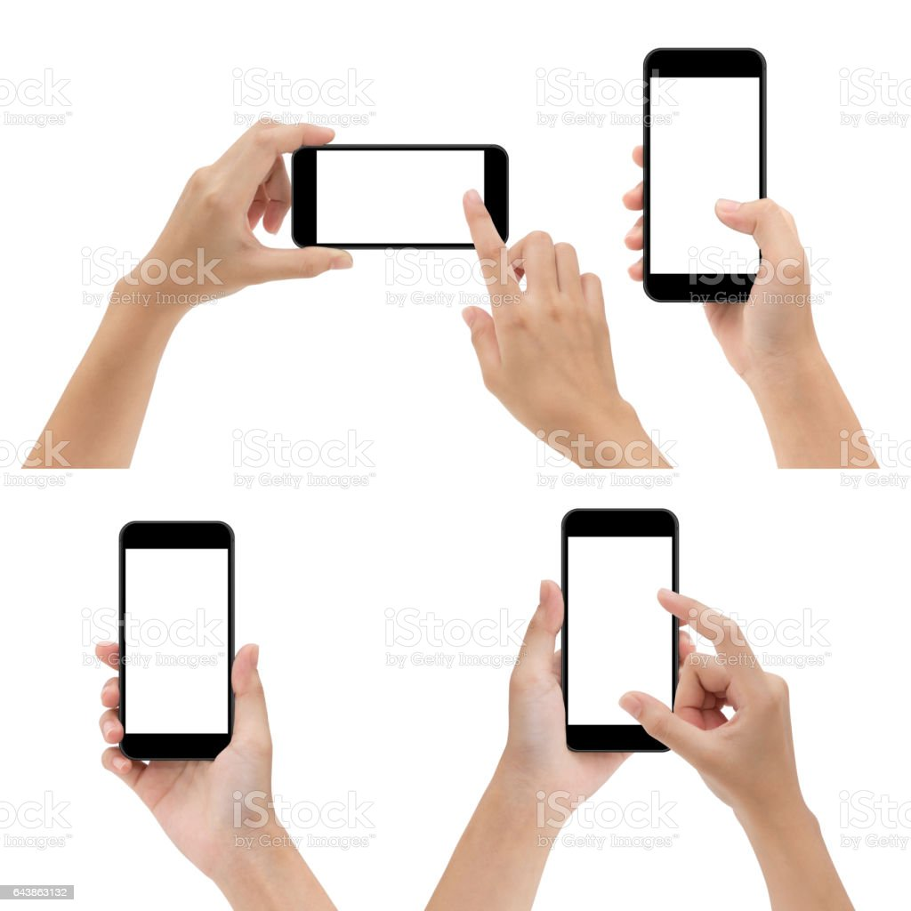 hand gesture hold and using phone isolated on white background stock photo