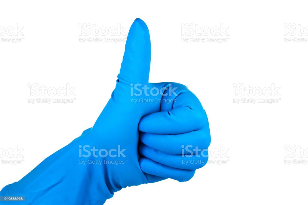 Hand gesture in a rubber sanitary glove of blue color, cleaning is fun stock photo