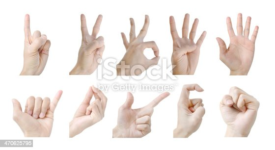 istock Hand gesture number isolate on white background 470625795
