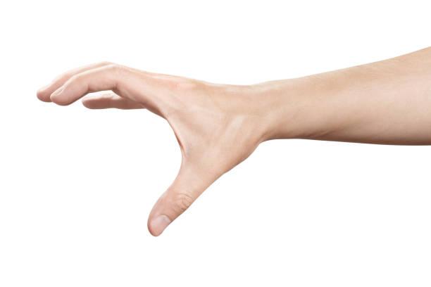 hand gesture on white - afferrare foto e immagini stock
