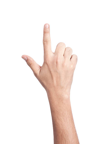 hand gesture, cut out on white background - hand pointing stockfoto's en -beelden