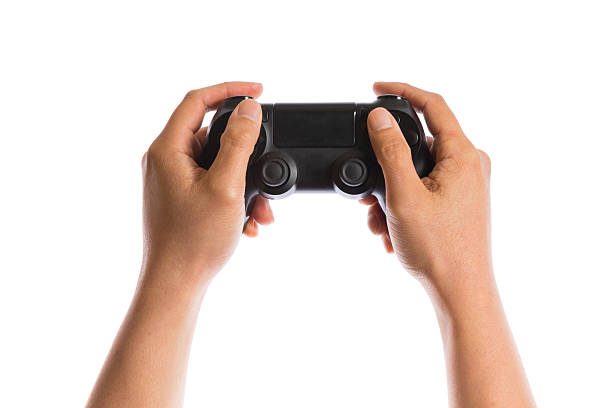 hand gesture hand holding game controller  isolated on white background gamepad stock pictures, royalty-free photos & images