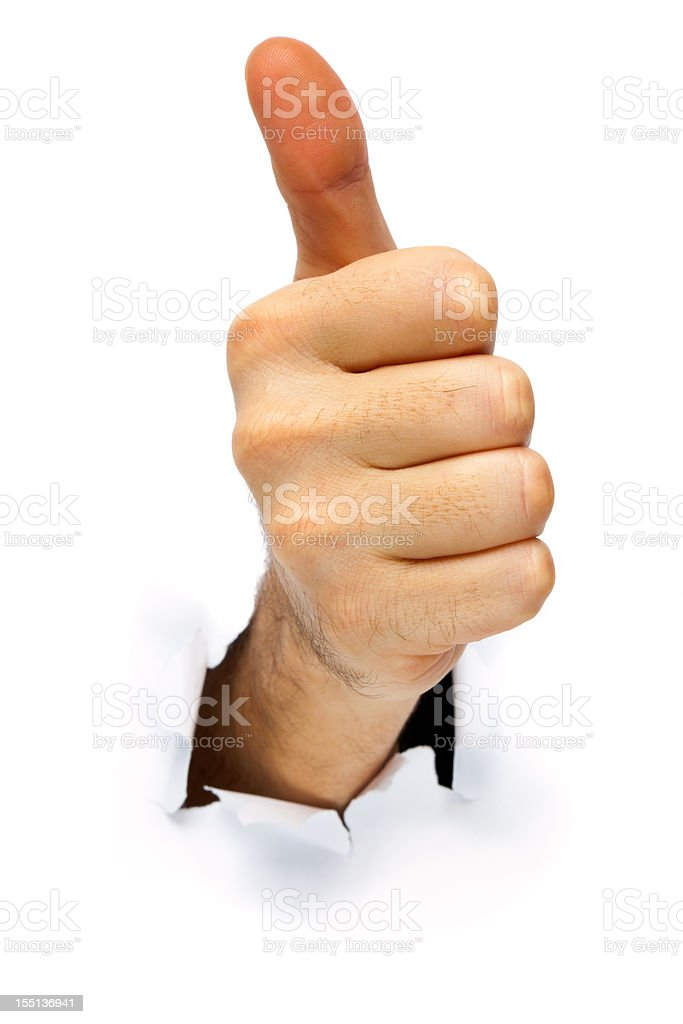 OK! Hand gesture poping out from paper royalty-free stock photo
