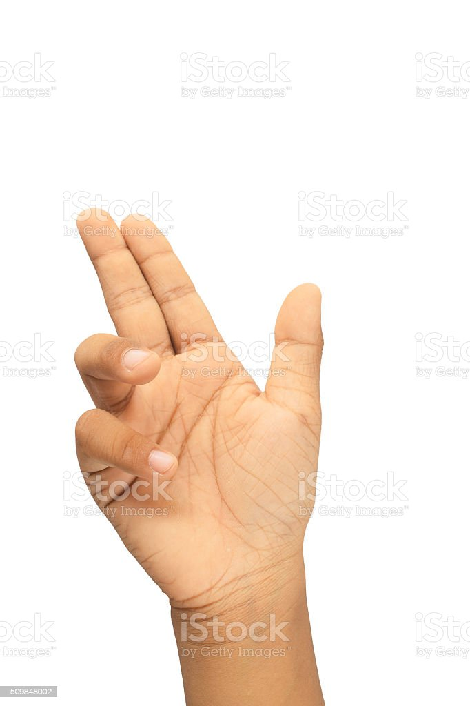 Hand Gesture, shooting up, isolated on white background stock photo