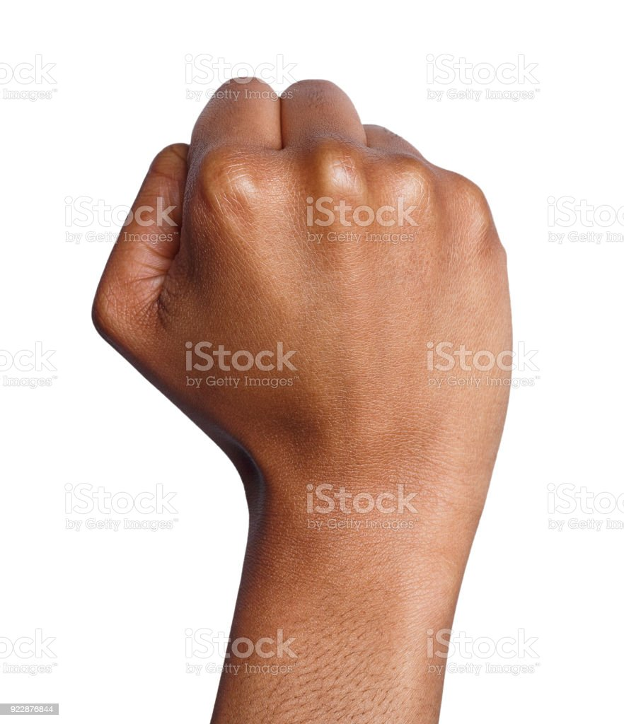 Hand gesture, woman clenched fist, ready to punch stock photo