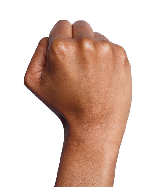 hand gesture, woman clenched fist, ready to punch - fist stock photos and pictures