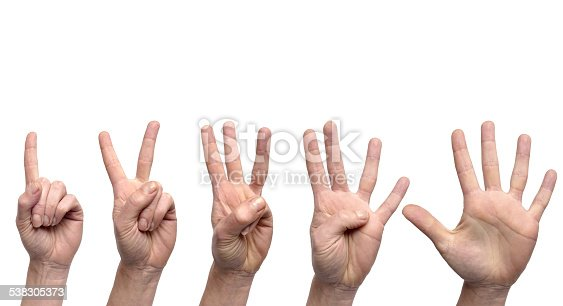 istock Hand gestures counting from 1 to 5 538305373