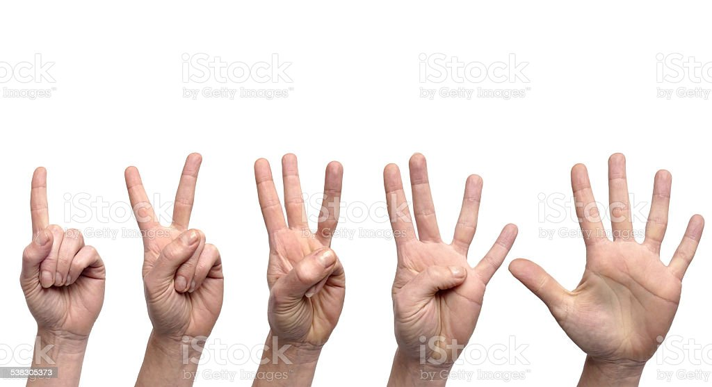 Hand gestures counting from 1 to 5 stock photo