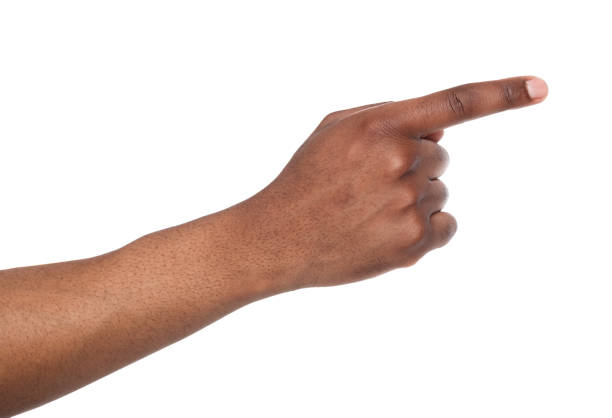 hand gestures - man pointing away, isolated - finger point stock photos and pictures