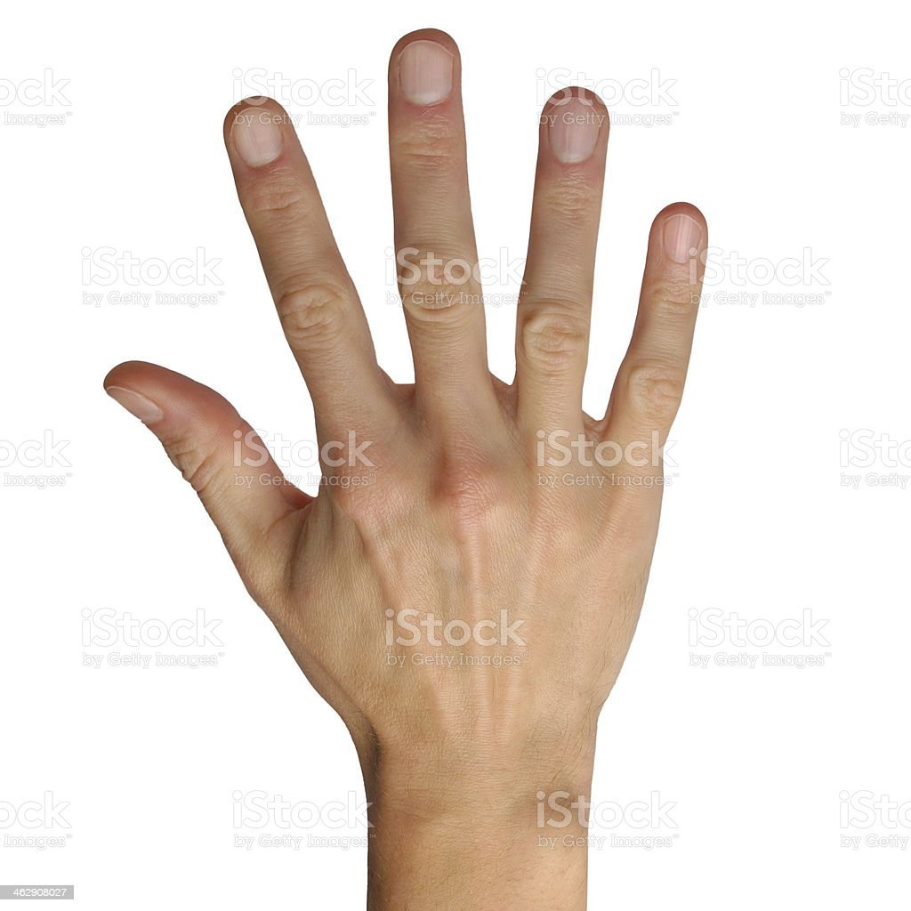Hand gestures on white background stock photo