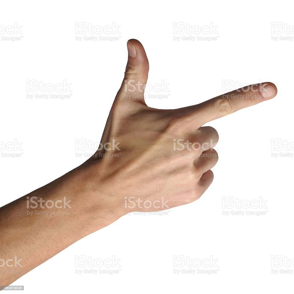 Hand gestures on white background - thumbs up! stock photo