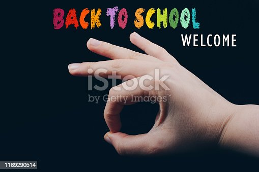 Back to school wording as education, teaching and learning concept