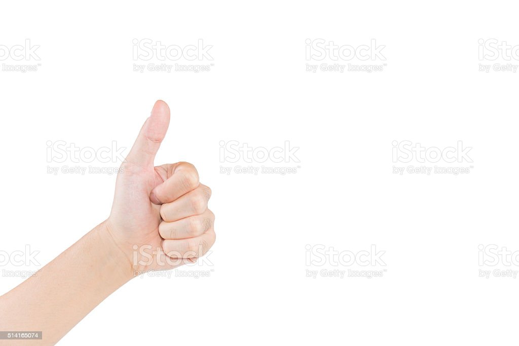 Hand gesturing thumb a lift on white background stock photo