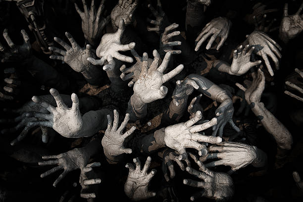 hand ghost ,zombie bloody hands background,maniac,blood zombie h - demon stock photos and pictures