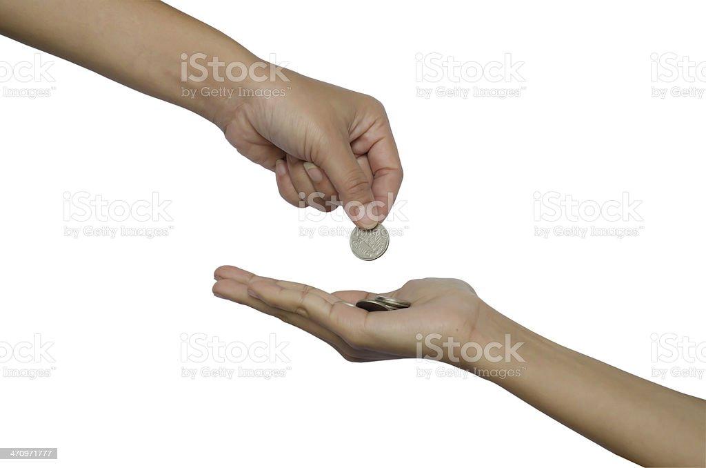 hand give money stock photo
