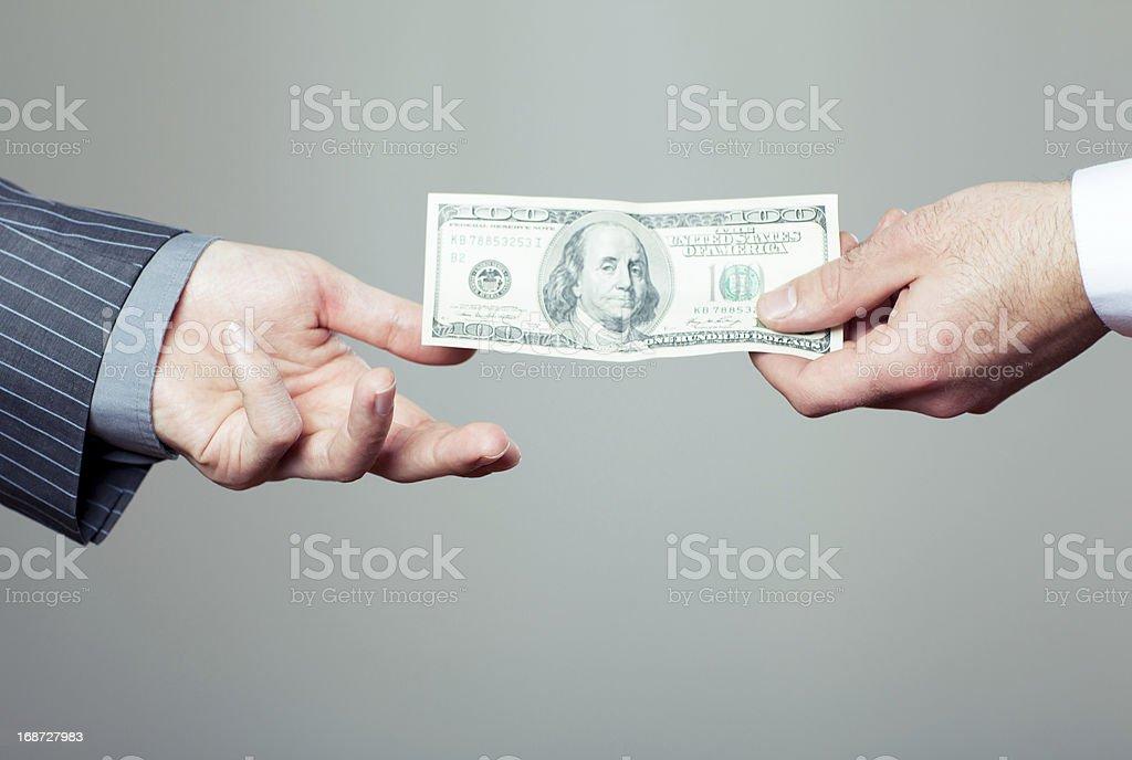 hand geben-dollar – Foto
