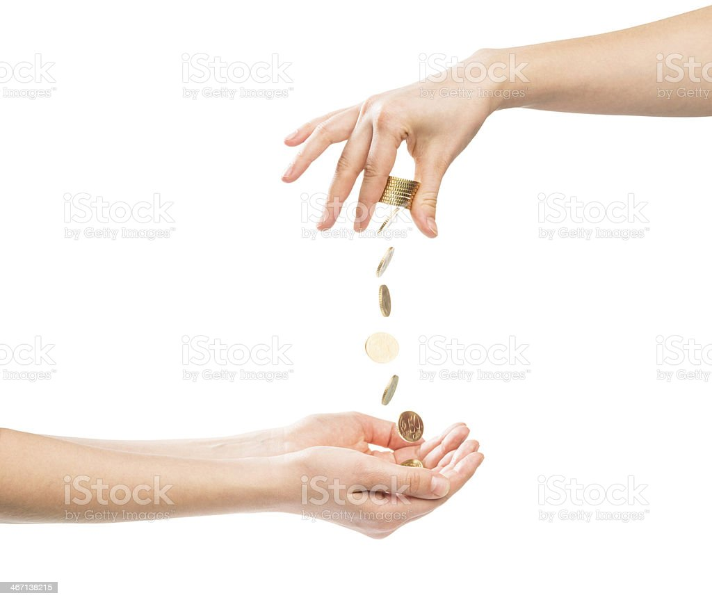 hand giving money and other receiving money stock photo