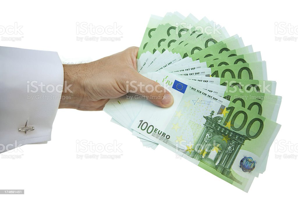 Hand giving or taking euros stock photo